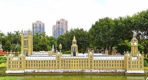 De huizen van het parlement, Londen bij venster van de wereld, shenzhen, China Royalty-vrije Stock Foto