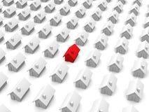 De huizen van het stuk speelgoed - men is rood vector illustratie