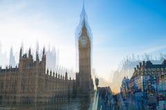 De huizen van Londen, het UK Big Ben van het Parlement bij zonsondergang Veelvoudig blootstellingsbeeld royalty-vrije stock foto's