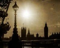 De Huizen van Londen, het UK van het Parlement in Silhouet Royalty-vrije Stock Foto