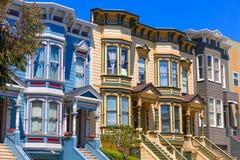 De huizen van San Francisco Victorian in Vreedzame Hoogten Californië Royalty-vrije Stock Fotografie