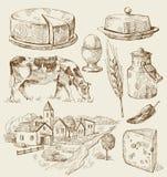 De huizenschets van het dorp met voedsel Royalty-vrije Stock Afbeeldingen