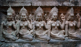 De hulp van de muur in Angkor Thom, Kambodja Stock Fotografie