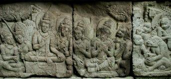 De hulp van het Ramayanaverhaal op Prambana-Tempel Stock Foto's
