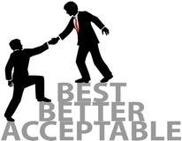 De hulp wordt lid omhoog van beste bedrijfsmensen vector illustratie