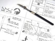 De Hulpmiddelen en de Plannen van de architect Royalty-vrije Stock Fotografie