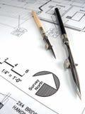 De Hulpmiddelen en de Plannen van de architect Stock Fotografie