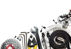 De hulpmiddelen en de reserveonderdelen van de fiets Royalty-vrije Stock Foto