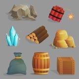 De hulpmiddelen en de punten van mijnbouwnatuurlijke rijkdommen Stock Afbeeldingen