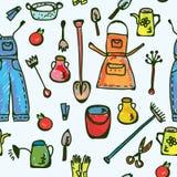 De hulpmiddelen tuinieren naadloos grappig patroon Stock Afbeelding