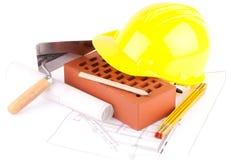 De hulpmiddelen van de baksteen en van de bouw Royalty-vrije Stock Afbeelding