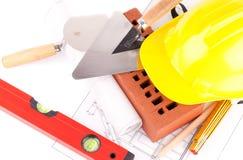 De hulpmiddelen van de baksteen en van de bouw Royalty-vrije Stock Foto's