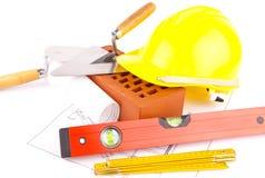 De hulpmiddelen van de baksteen en van de bouw Royalty-vrije Stock Foto
