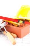 De hulpmiddelen van de baksteen en van de bouw Stock Fotografie