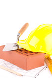 De hulpmiddelen van de baksteen en van de bouw Stock Afbeelding
