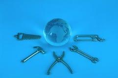 De hulpmiddelen van de bol en van het werk Royalty-vrije Stock Fotografie