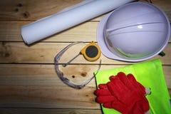 De hulpmiddelen van de bouw en veiligheidsconcept Stock Afbeeldingen
