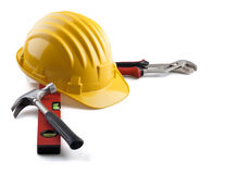 De hulpmiddelen van de bouwer op wit Stock Foto