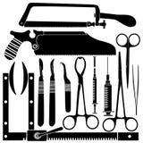 De hulpmiddelen van de chirurg in vectorsilhouet Stock Afbeelding