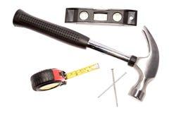 De hulpmiddelen van de hamer en van het timmerwerk Royalty-vrije Stock Fotografie