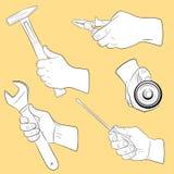 De hulpmiddelen van de hand in gebruik Royalty-vrije Stock Fotografie