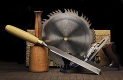De Hulpmiddelen van de houtbewerking Stock Afbeeldingen