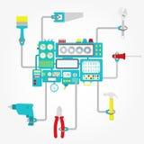 De hulpmiddelen van de machineholding royalty-vrije illustratie