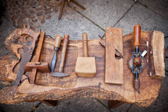 De hulpmiddelen van de uitstekende timmerman Royalty-vrije Stock Fotografie