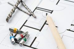 De Hulpmiddelen van het bouwplan Royalty-vrije Stock Foto