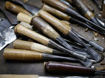 De hulpmiddelen van het houtsnijwerk Stock Afbeeldingen