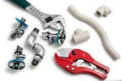 De hulpmiddelen van het loodgieterswerk met toebehoren Stock Afbeelding