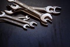 De hulpmiddelen van het moersleutelstaal voor reparatie Stock Afbeeldingen