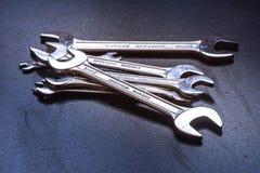 De hulpmiddelen van het moersleutelstaal voor reparatie Stock Foto's