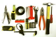 De hulpmiddelen van het timmerwerk op witte achtergrond royalty-vrije stock afbeelding