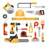 De hulpmiddelen vectorpictogrammen van de huisreparatie Werkende reparatiehulpmiddelen voor reparatie Royalty-vrije Stock Afbeeldingen