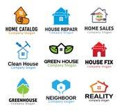 De Hulpmiddelenontwerp van de huis Groen Overeenkomst Stock Afbeeldingen