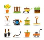De hulpmiddelenpictogrammen van de tuin en het tuinieren Stock Foto's