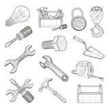 De hulpmiddelenreeks van de tekening Royalty-vrije Stock Afbeelding