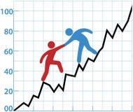 De hulprentabiliteit van de bedrijfspersoonsgrafiek Stock Afbeelding