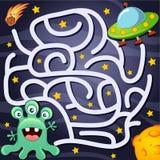 De hulpvreemdeling vindt weg aan UFO labyrint Het spel van het labyrint voor jonge geitjes royalty-vrije illustratie