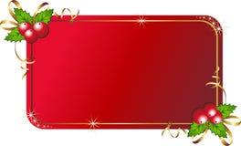 De hulst van Kerstmis met kaart Stock Foto's