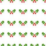 De hulst van Kerstmis Naadloos feestelijk patroon, decoratie Achtergrond, het behandelen of behang Vector stock illustratie