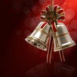 De Hulstblad en Lint van Kerstmisklokken Royalty-vrije Stock Afbeelding