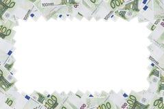 De hundra eurosedlarna som används som en ram, med tomt utrymme Royaltyfri Bild