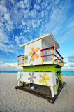 De Hut van de badmeester bij het Strand van het Zuiden van Miami, FL Stock Fotografie