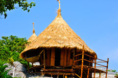 De hut van het bamboe op klip Royalty-vrije Stock Foto