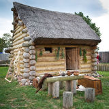 De hut van het kleine kruidkundige met met stro bedekt dak Royalty-vrije Stock Foto's