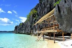 De hut van het strand in Coron, Palawan, Filippijnen Royalty-vrije Stock Fotografie