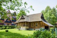 De hut van hout in Zakopane wordt gebouwd die Stock Fotografie