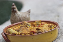De hutspot van de kip met citroen en olijven Stock Foto's